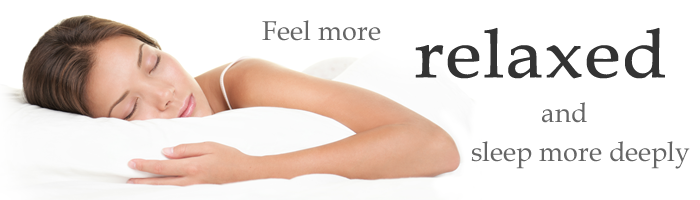 "Advertising banner quoting ""Feel more relaxed and sleep more deeply"""
