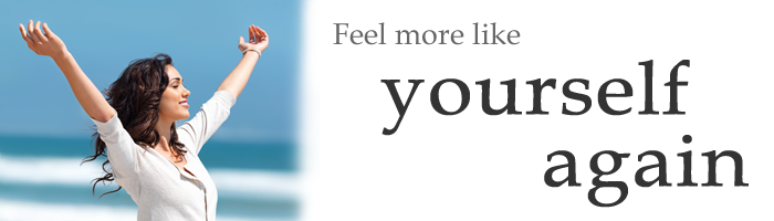 "Advertising banner quoting ""Feel more like yourself again"""